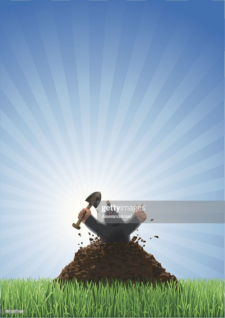 Mole Breaking through the Lawn : Vector Art