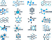 Molecular logotypes. Evolution concept formula chemistry genetic technology medical information node cell vector illustrations. Dna molecular, chemistry formula atom