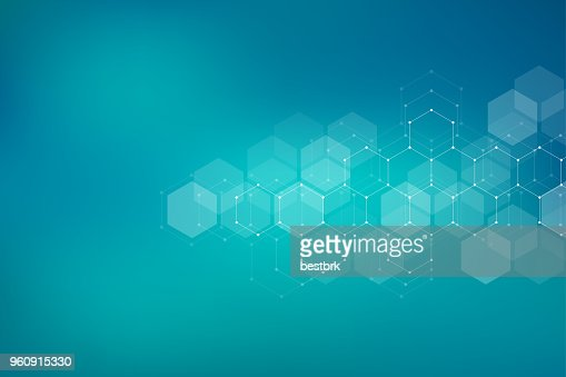 Molecular structure background. Abstract background with molecule DNA. Geometric shape with hexagons : Vector Art