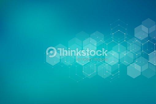 Fondo de la estructura molecular. Resumen de antecedentes con la molécula de ADN. Forma geométrica con hexágonos : arte vectorial