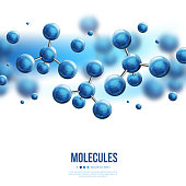Abstract molecules design. Vector illustration. Atoms. Medical background for banner or flyer. Molecular structure with blue spherical particles.