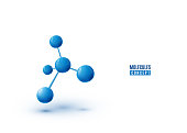 Molecule design isolated on white background. Atoms. 3d molecular structure with blue connected spherical particles. Vector illustration