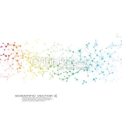 Vecteur de molécule ADN et les neurones. Structure moléculaire. Lignes connectées avec des points. Génétique des composés chimiques. Chimie, médecine, sciences, concept technologique. Abstrait géométrique : clipart vectoriel