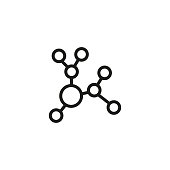 Molecule line icon. Structure, bond, compound, ethanol. Chemistry concept. Can be used for topics like science, education, research, analysis.