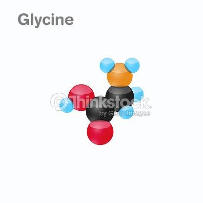 Molécula De Glicina Gly Un Aminoácido Que Se Utiliza En La