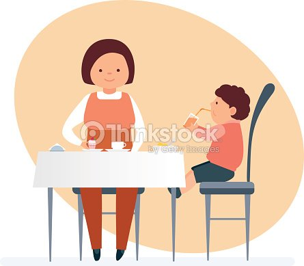 Mom and her child visit restaurant, order tasty food, drinks