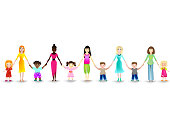 Moms with their children on a white background.