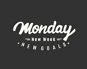Monday. New week, new goals. Creative hand lettering, motivational modern calligraphy in retro style. Typography design, good for poster, blog, banner, T shirt print. Vector illustration