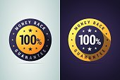 Money back guarantee badge. Vector round sign for product promotions, sales, offers and advert in two color variants on white and dark backgrounds.