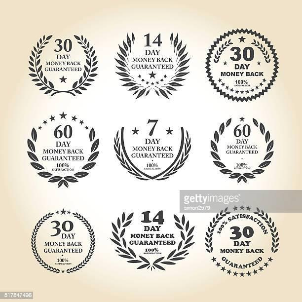 Conjunto de emblema de dinero garantía