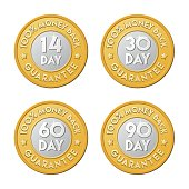 Period date guarantee money coin web page sticker set