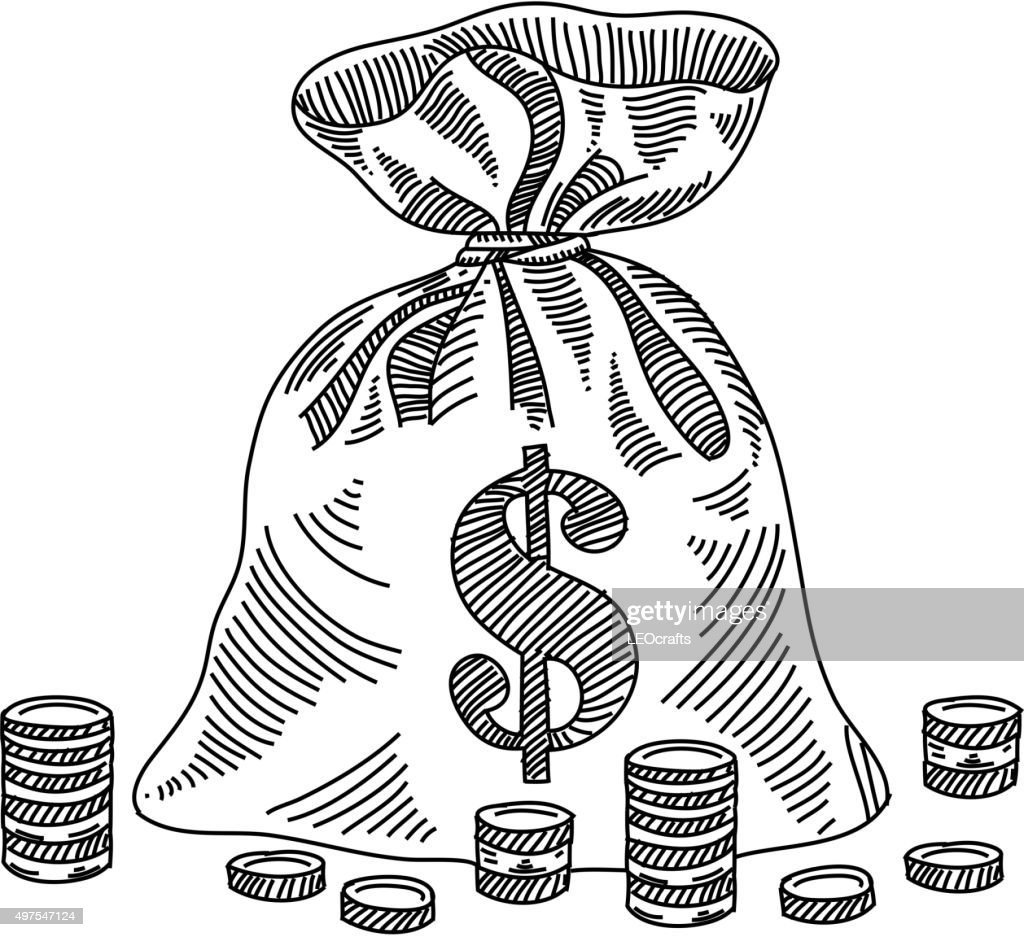 money bag drawing vector art getty images