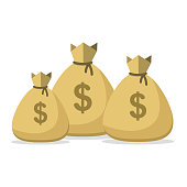 Money bag lot. Bunch of bags of money. Success wealth or big income. Vector illustration