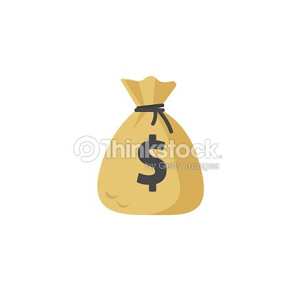 Money bag vector icon, moneybag flat simple cartoon illustration isolated