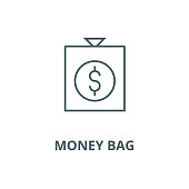 Money bag vector line icon, outline concept, linear sign