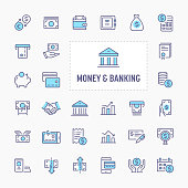 Financial, money and banking  - thin line website, application & presentation icon. simple and minimal vector icon and illustration collection.