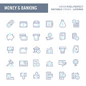 Financial, money and banking  - simple outline icon set. Editable strokes and Layered (each icon is on its own layer with proper name) to enhance your design workflow.