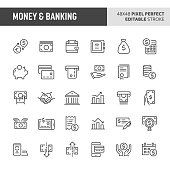 30 thin line icons associated with money and banking with symbols such as money related items, banking and financial are included in this set. 48x48 pixel perfect vector icon with editable stroke.
