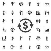 Money convert icon. Business icons set