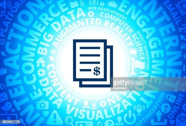 Money Documents Icon on Internet Modern Technology Words Background