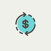 Money dollar symbol with arrow icon thin line for web and mobile, modern minimalistic flat design. Vector icon with dark grey outline and offset colour on light grey background.