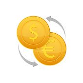 Money exchange icon. Banking currency sign. Euro and Dollar Cash transfer symbol. Vector illustration.