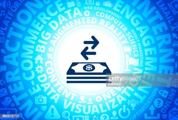 Money Exchange Icon on Internet Modern Technology Words Background