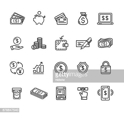 Money Finance Symbols and Signs Black Thin Line Icon Set. Vector : stock vector