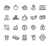 Money Finance Symbols and Signs Black Thin Line Icon Set Include of Shield, Lock, and Moneybox. Vector illustration