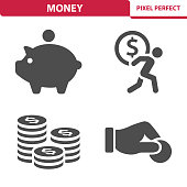 Professional, pixel perfect icons depicting various money, finance and currency concepts.