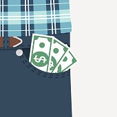 Money in pocket. Cash, earned money in jeans. Businessman in stylish suit jacket and pants. Vector illustration flat style design. Isolated on white background. Concept of wealth and success.