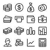 Money and coin icon set in ios7 style. Vector illustration.