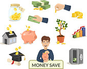 Money save concept money icons for finance banking payment vector illustrationn. Investment symbol buck cash note gold coins pictogram development services