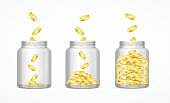 Money Savings Concept with Gold Coins and Glass Jar Set. Vector illustration