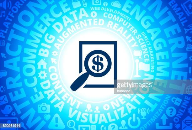 Money Searching Icon on Internet Modern Technology Words Background