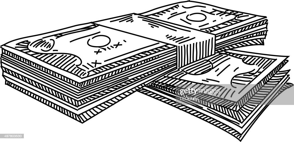 Line Art Money : Money stacks drawing vector art getty images