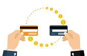 Sending and receiving money with a credit card. Vector illustration, flat design.