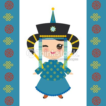 92892e88995 Mongolian girl in national costume and hat. Cartoon children in traditional  dress on white background. Card banner template