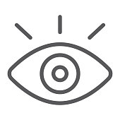 Monitiring line icon, security and eye, vision sign, vector graphics, a linear pattern on a white background, eps 10.