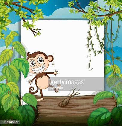 Monkey and a white board : Vector Art