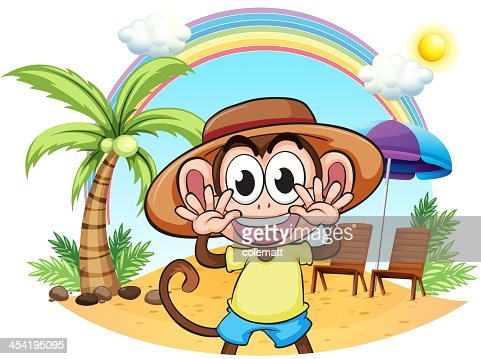 Monkey at the beach : Vector Art