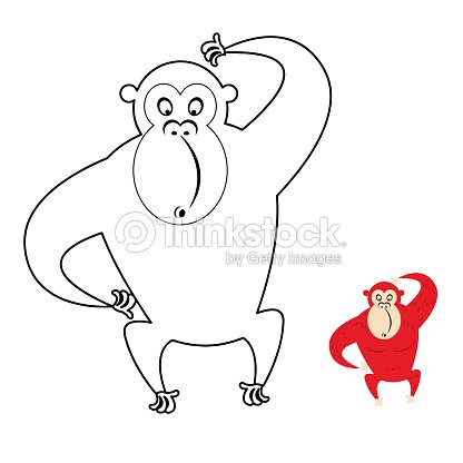 Monkey Coloring Book Red Monkey Makes Surprise Muzzle Funny Pr ...