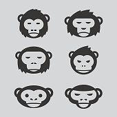 Black Monkey logo vector set design