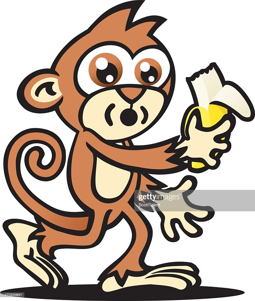 monkey and giant banana cartoon vector art getty images