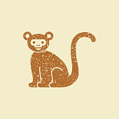 Vector Stylized Monkey Illustration Isolated On Grey Background