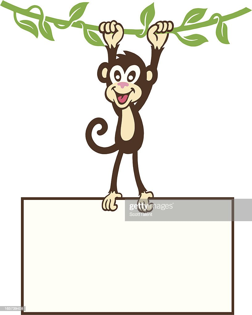 monkey hanging sign vector art getty images
