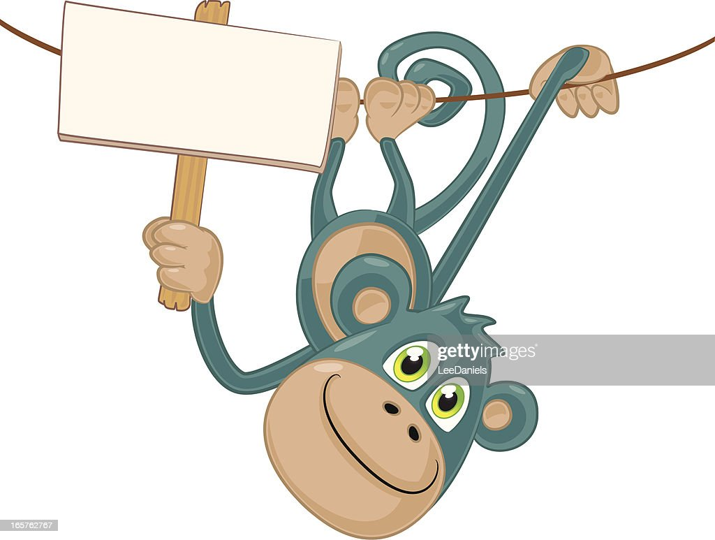 monkey hanging upside down with a blank sign vector art getty images