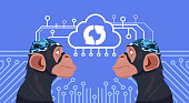 Monkey Heads With Cyborg Brain Updating Over Circuit Background Vertical Banner Artificial Intelligence Concept Vector Illustration