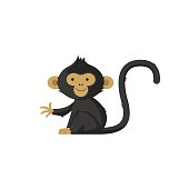 Vector Cute monkey icon, logo or symbol on white background.