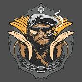 Monkey with bananas. Vector illustration.